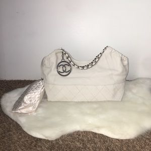 Chanel Off White Coco Quilted Leather Shoulder Bag